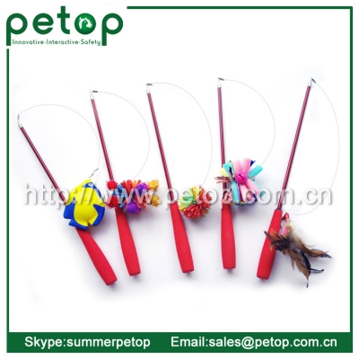 Telescoping Fishing Rod Spin Feather Wand Cat Toy
