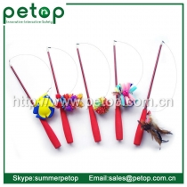 Telescoping Fishing Rod Spin Feather Wand Cat Teaser